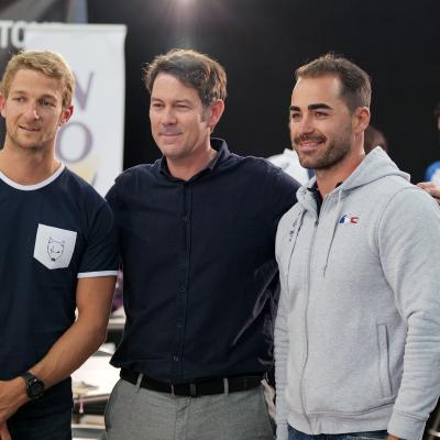 J. Candy (Kayak World Champion) B. Bidone (Tour Director) E. Delaunay (Skeet Olympic)